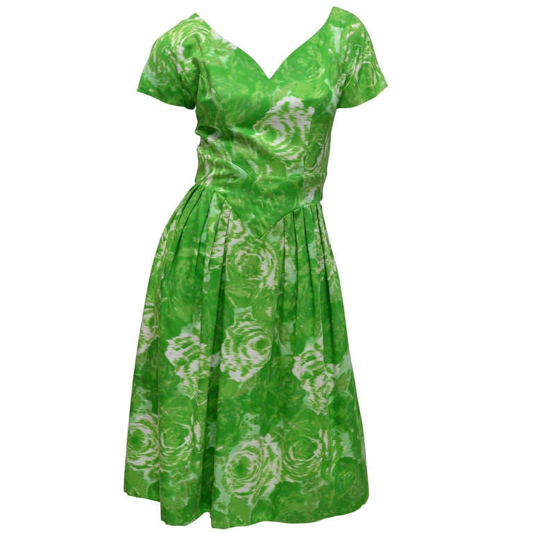 Suzy Perette New York 1950's Summer Green Cotton Floral Day Dress 1