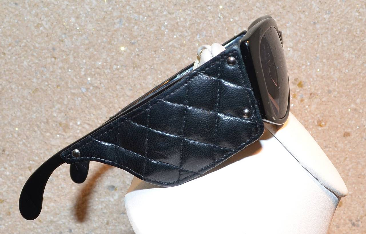 Chanel Vintage 1987 Black Lambskin Leather Quilted Sunglasses 2