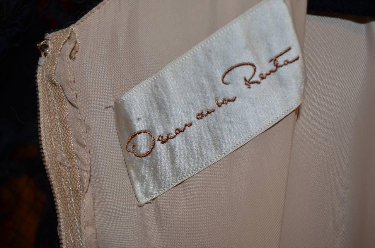 Vinage Oscar de la Renta Black Lace Overlay Peasant Dress For Sale 1