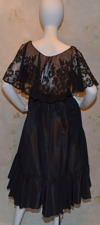 Women's Vinage Oscar de la Renta Black Lace Overlay Peasant Dress For Sale