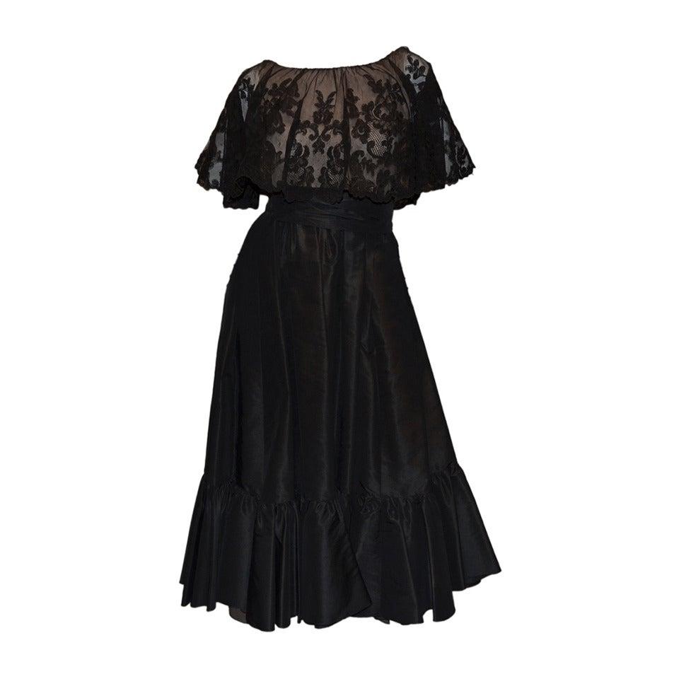 Vinage Oscar de la Renta Black Lace Overlay Peasant Dress For Sale