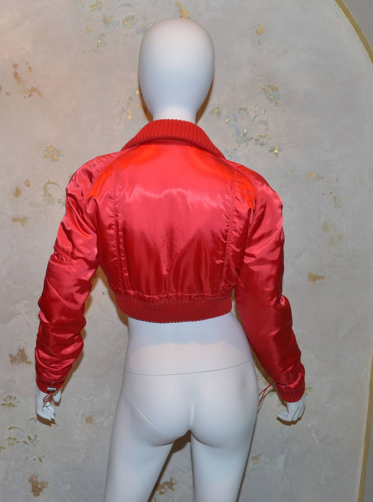 '03 A Chanel Collection Red Satin Crop Ribbed Bomber Jacket 2