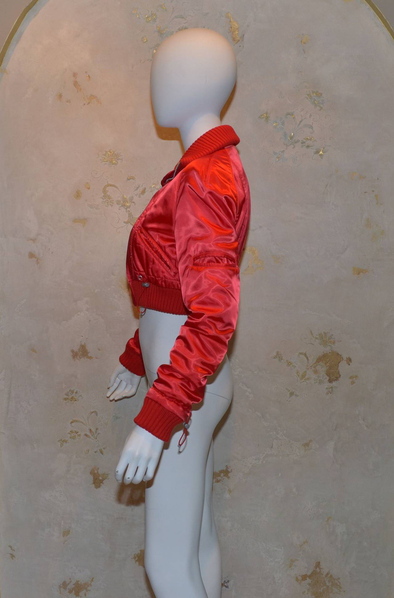 '03 A Chanel Collection Red Satin Crop Ribbed Bomber Jacket In Good Condition In Carmel by the Sea, CA