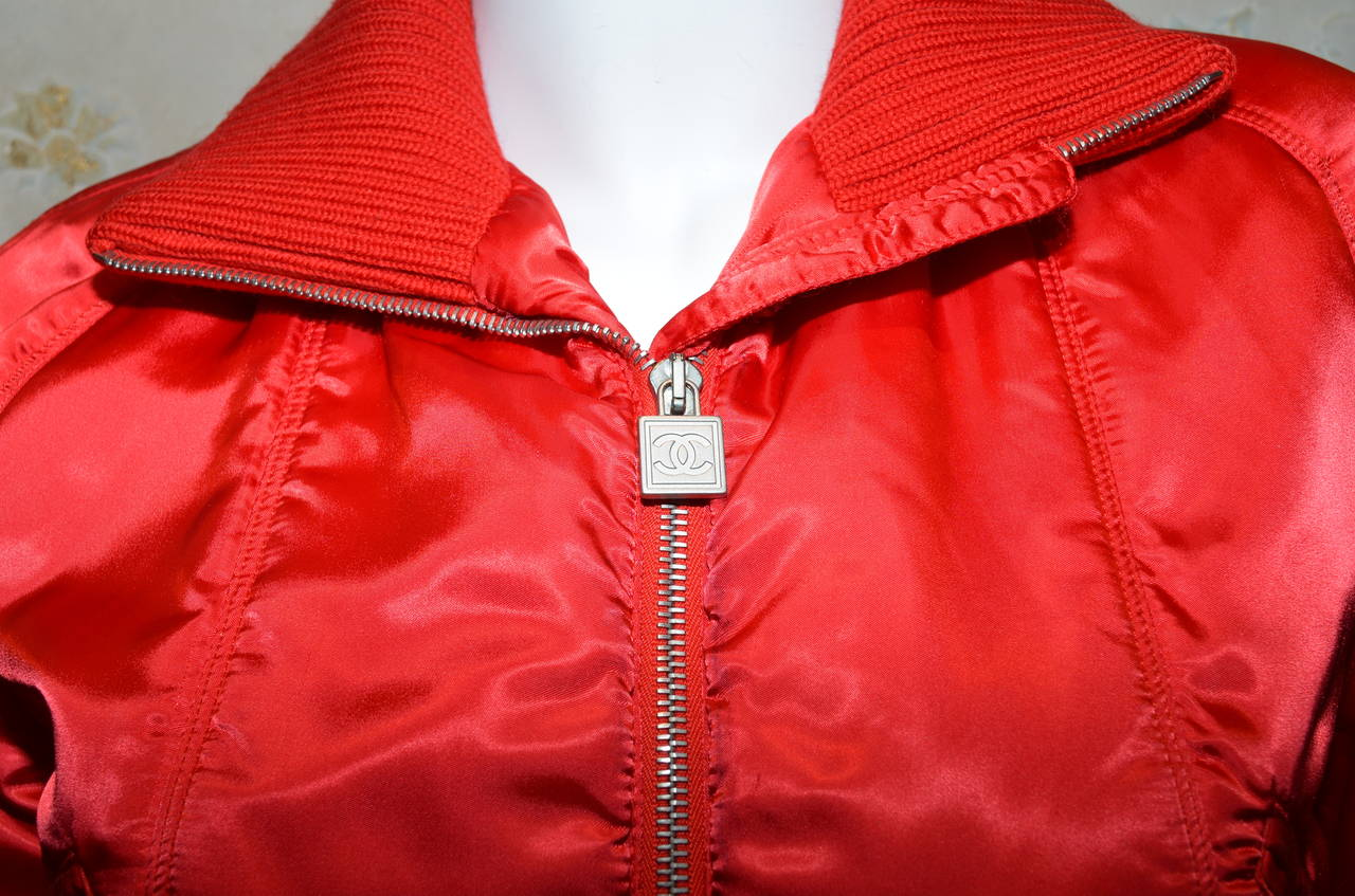 '03 A Chanel Collection Red Satin Crop Ribbed Bomber Jacket 1