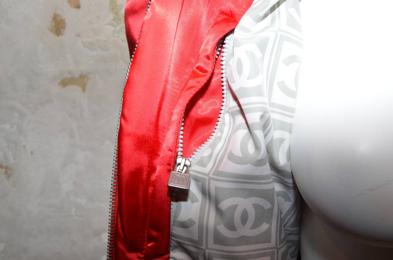 '03 A Chanel Collection Red Satin Crop Ribbed Bomber Jacket 7