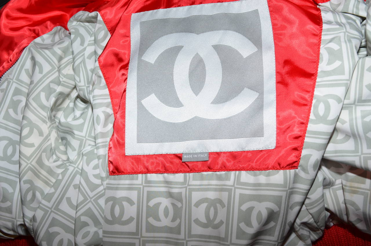 '03 A Chanel Collection Red Satin Crop Ribbed Bomber Jacket 4
