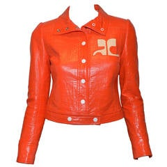 1960s Courreges Vintage Summer Orange Vinyl Snap Button Jacket