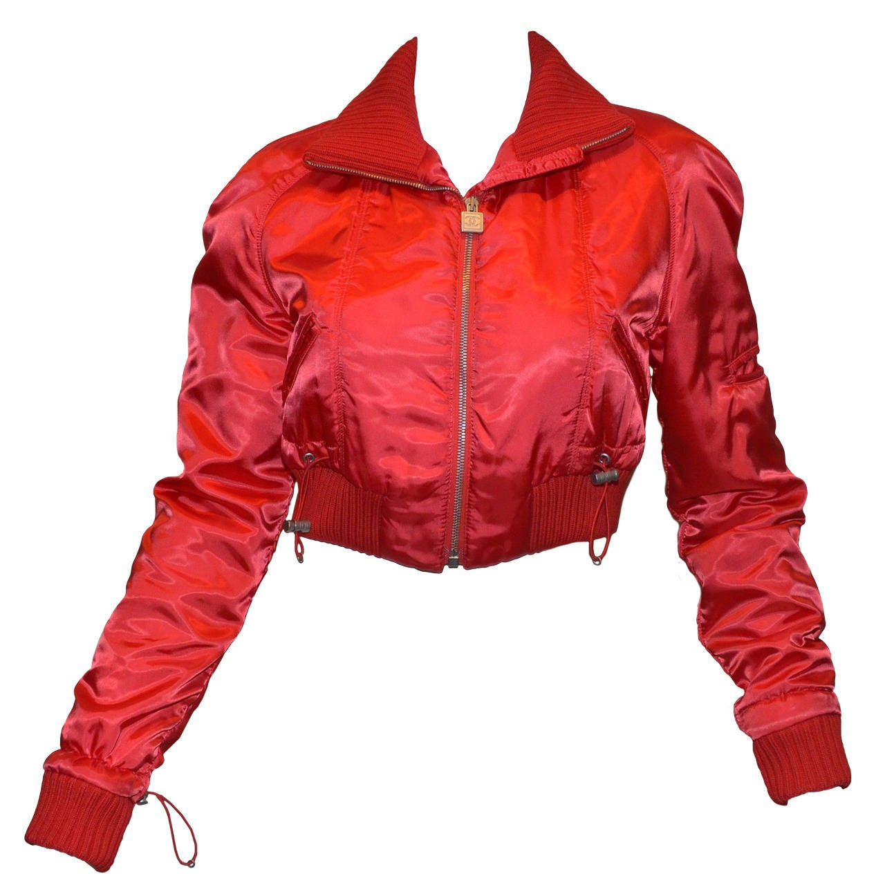'03 A Chanel Collection Red Satin Crop Ribbed Bomber Jacket