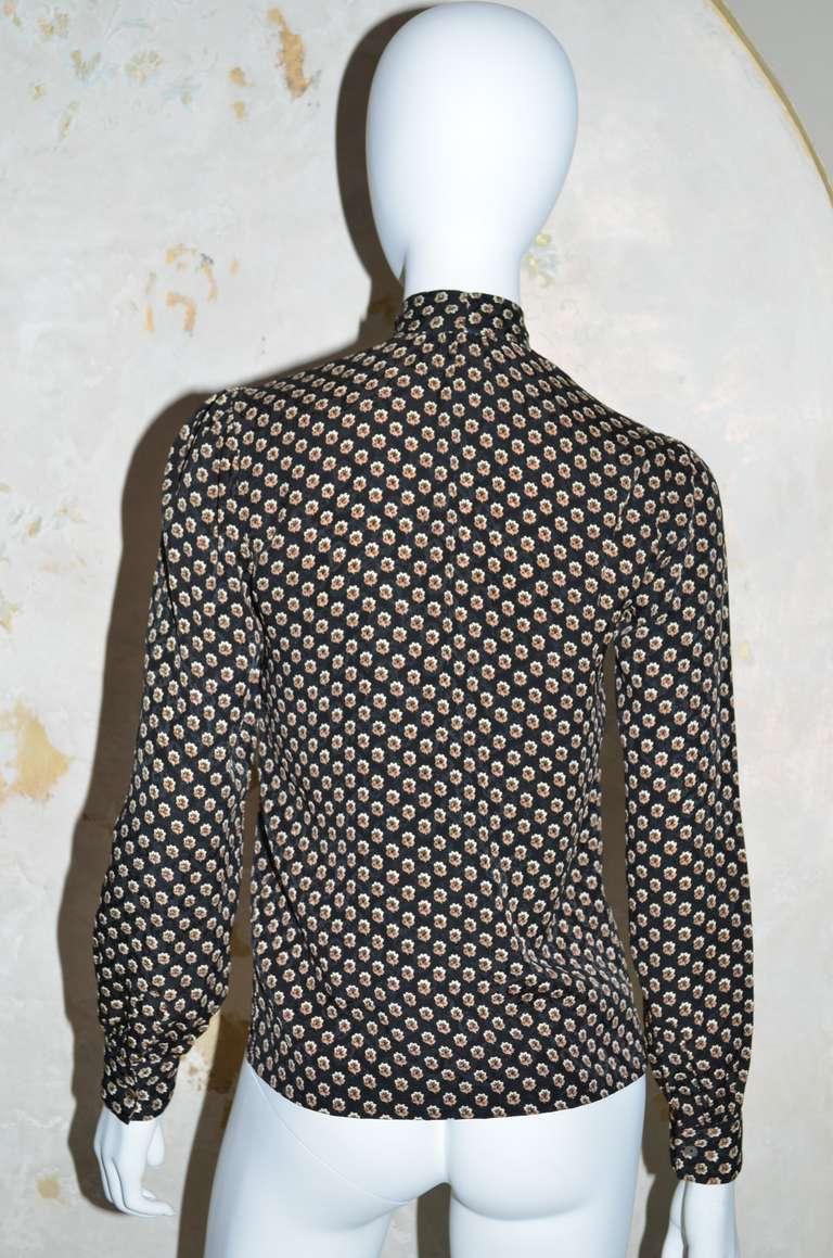 Black Yves Saint Laurent Vintage YSL Silk Blouse For Sale