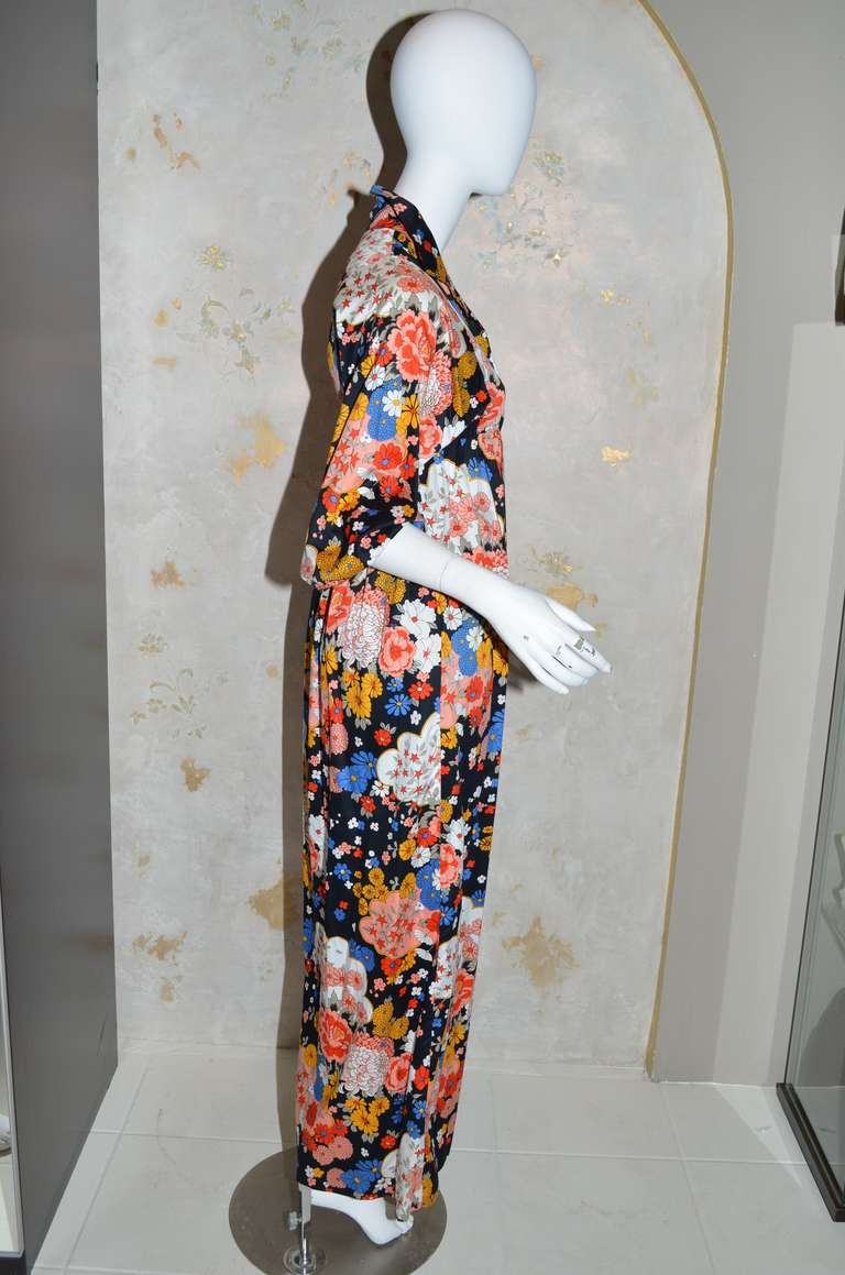 Yves Saint Lau Vintage 1970 S Ysl Cotton Fl Print Peasant Dress Ed Front And Back Yoke