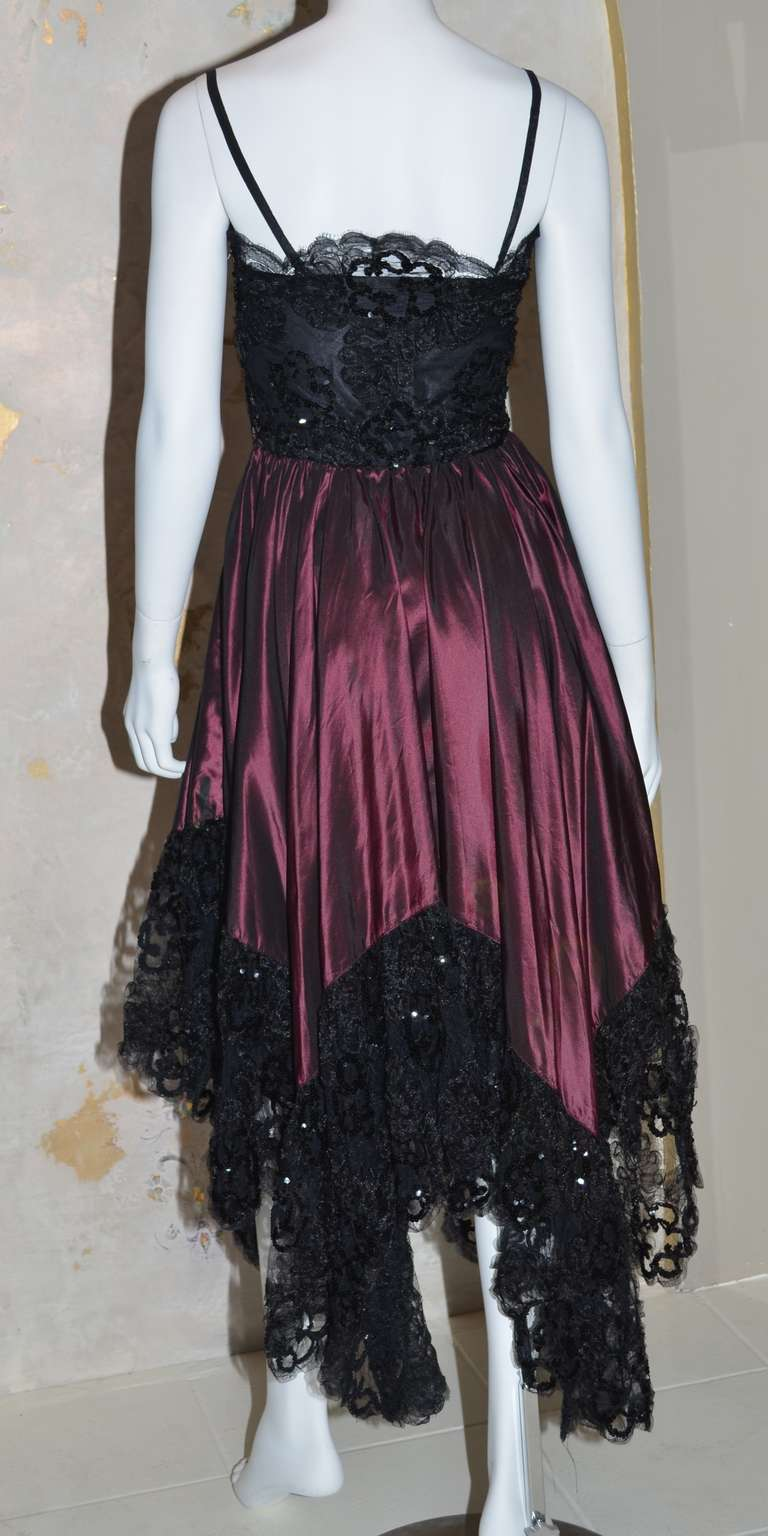Women's Yves Saint Laurent Vintage YSL Taffeta and Lace Gown For Sale