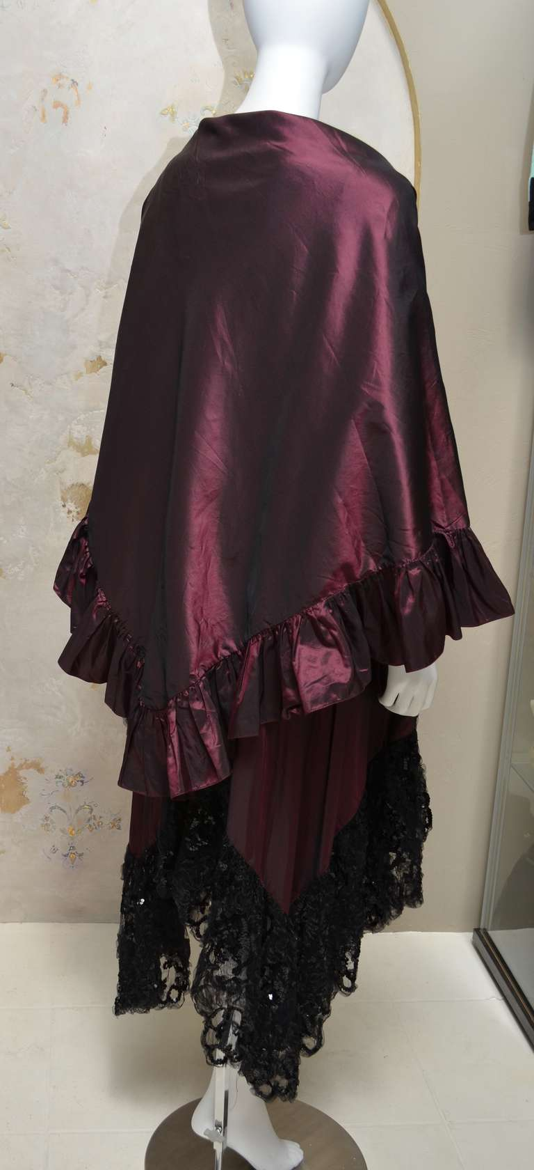 Yves Saint Laurent Vintage YSL Taffeta and Lace Gown For Sale 2
