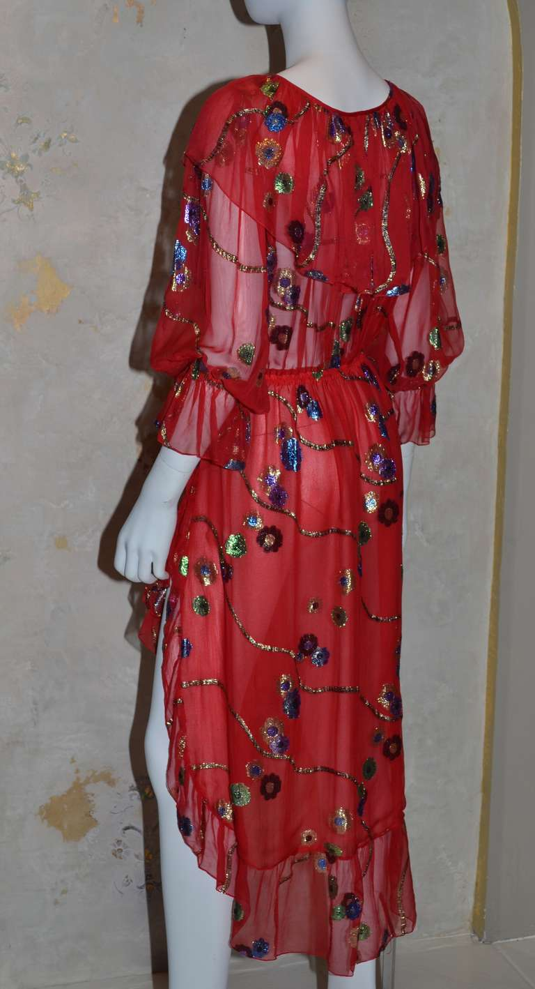 Yves Saint Lau Vintage Ysl Chiffon Dress In Excellent Condition For Carmel By The