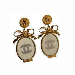 Chanel Couture Huge Etched Mirror Earrings