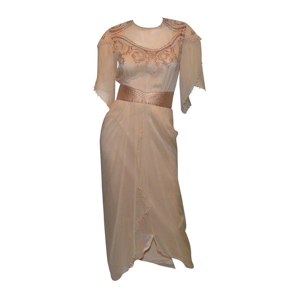 Zandra Rhodes Painted Chiffon Gown