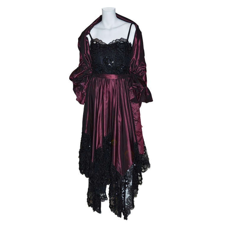Yves Saint Laurent Vintage YSL Taffeta and Lace Gown For Sale