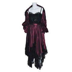 Yves Saint Laurent Vintage YSL Taffeta and Lace Gown
