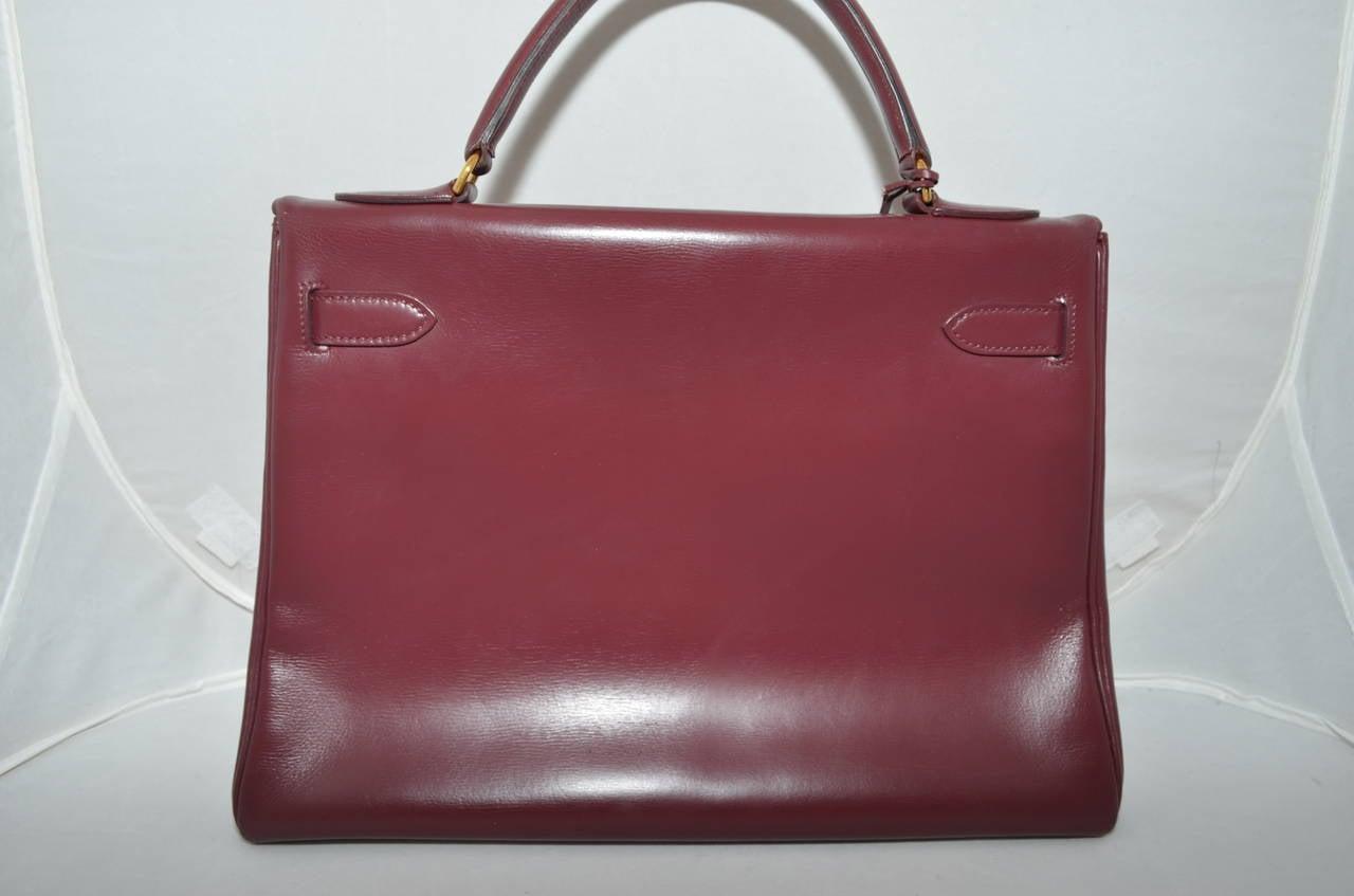 Hermes 1978 32cm Box Calf Kelly Handbag In Good Condition In Carmel by the Sea, CA