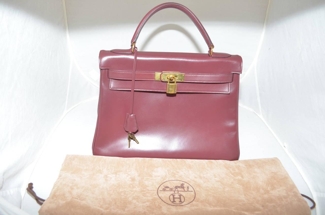 Hermes 1978 32cm Box Calf Kelly Handbag 5