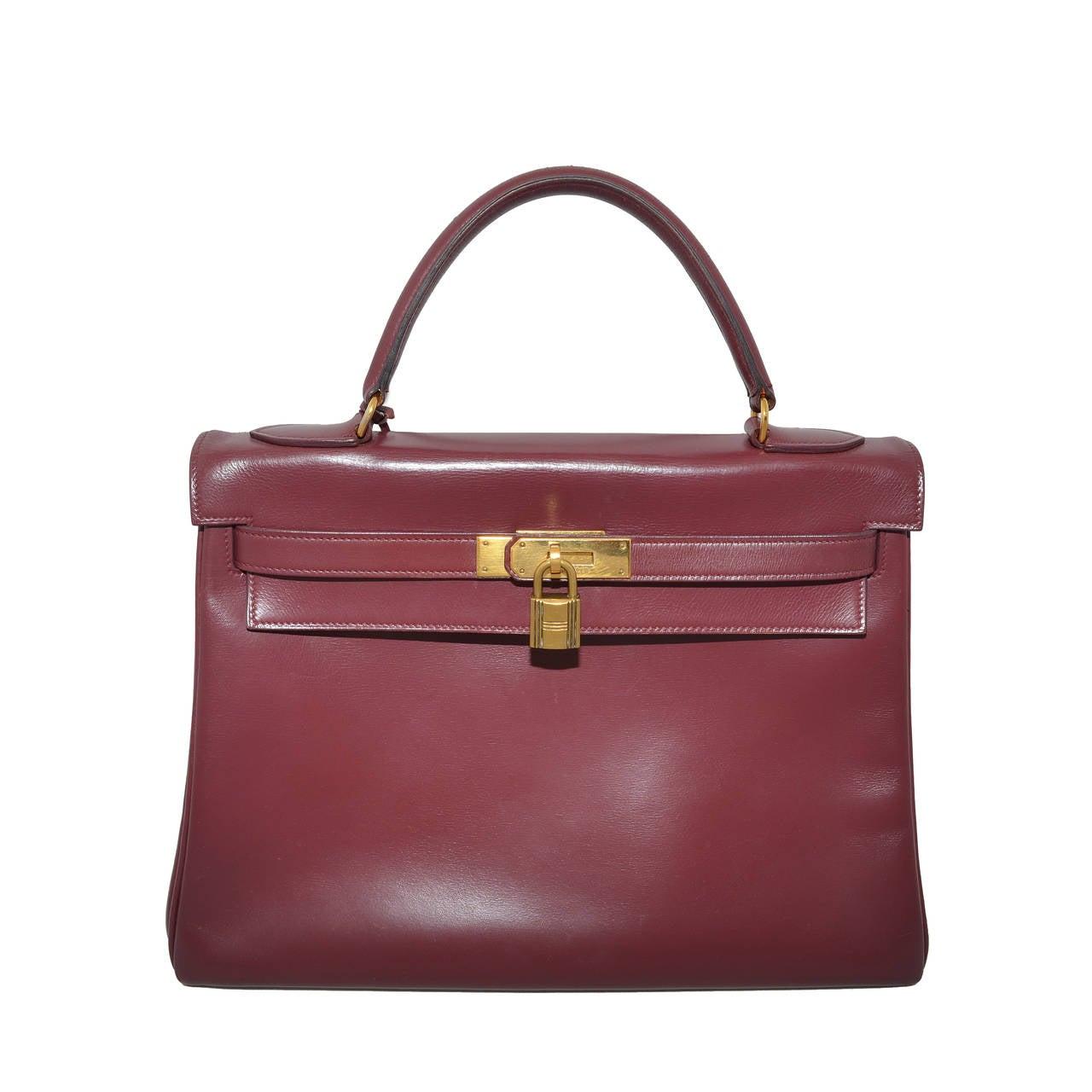 Hermes 1978 32cm Box Calf Kelly Handbag