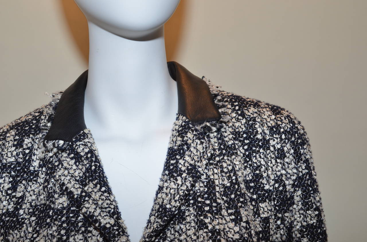 Chanel Houndstooth Jacket Leather Trim 4