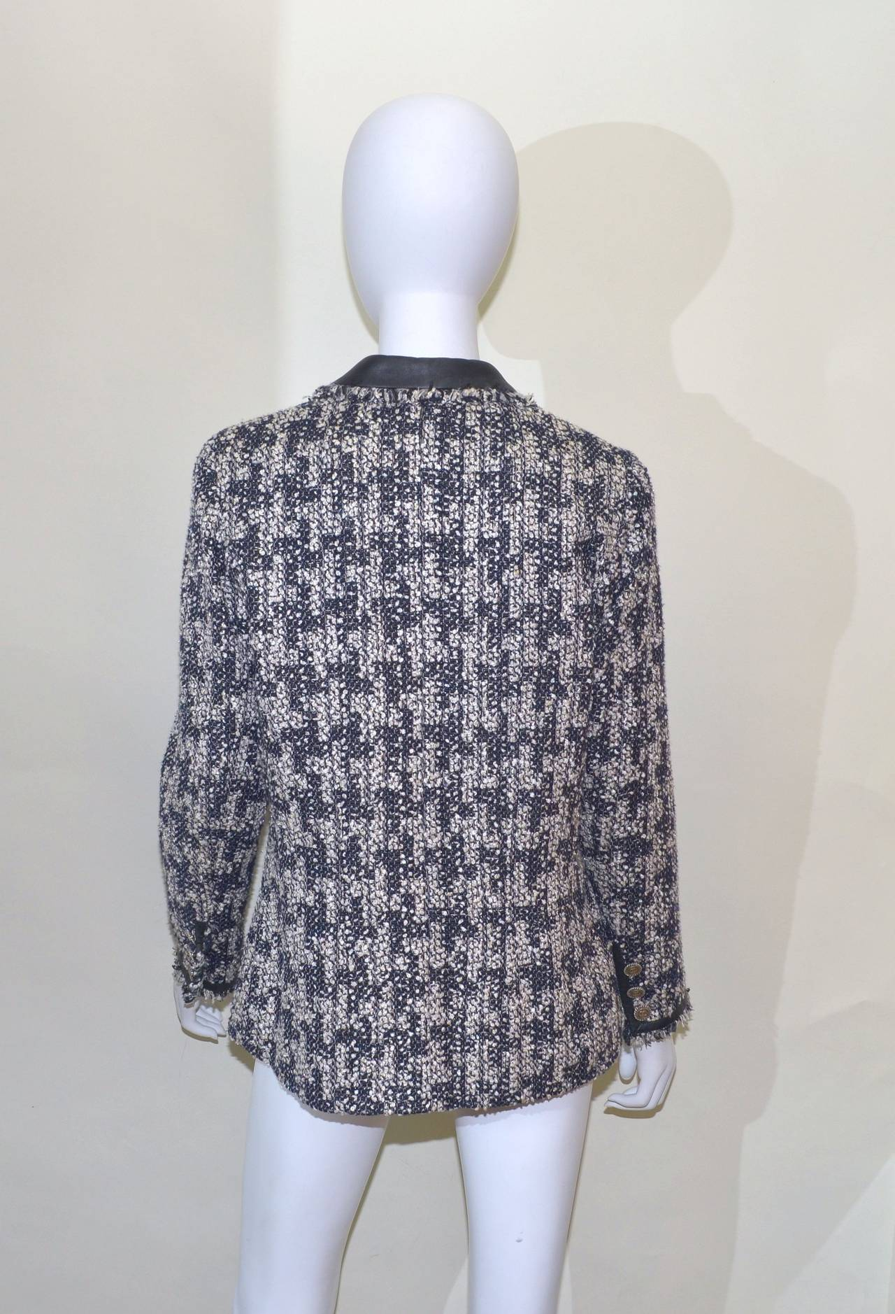 Chanel Houndstooth Jacket Leather Trim 5