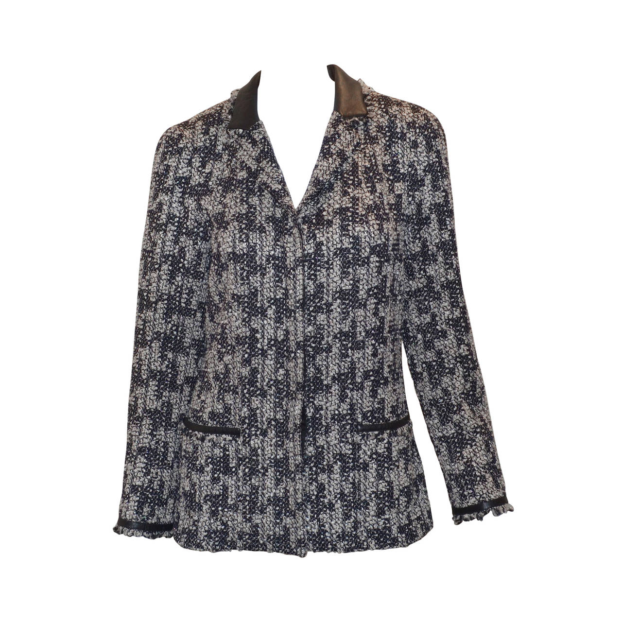Chanel Houndstooth Jacket Leather Trim 1