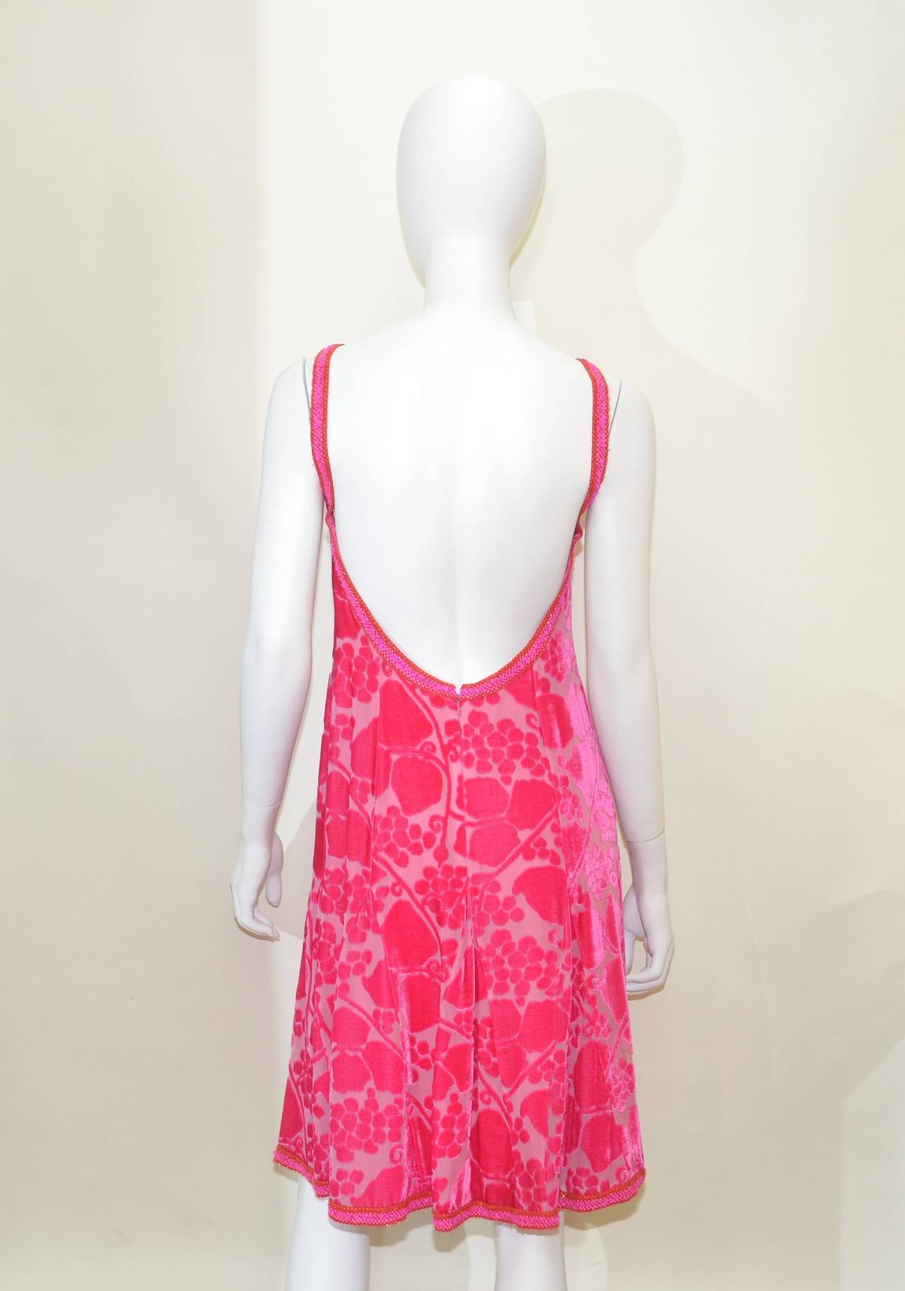 Pink Chanel 01C Burn Out Velvet Dress For Sale