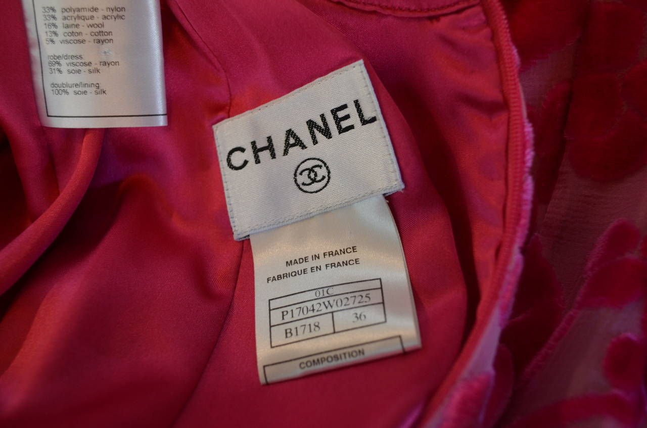 Chanel 01C Burn Out Velvet Dress For Sale 3