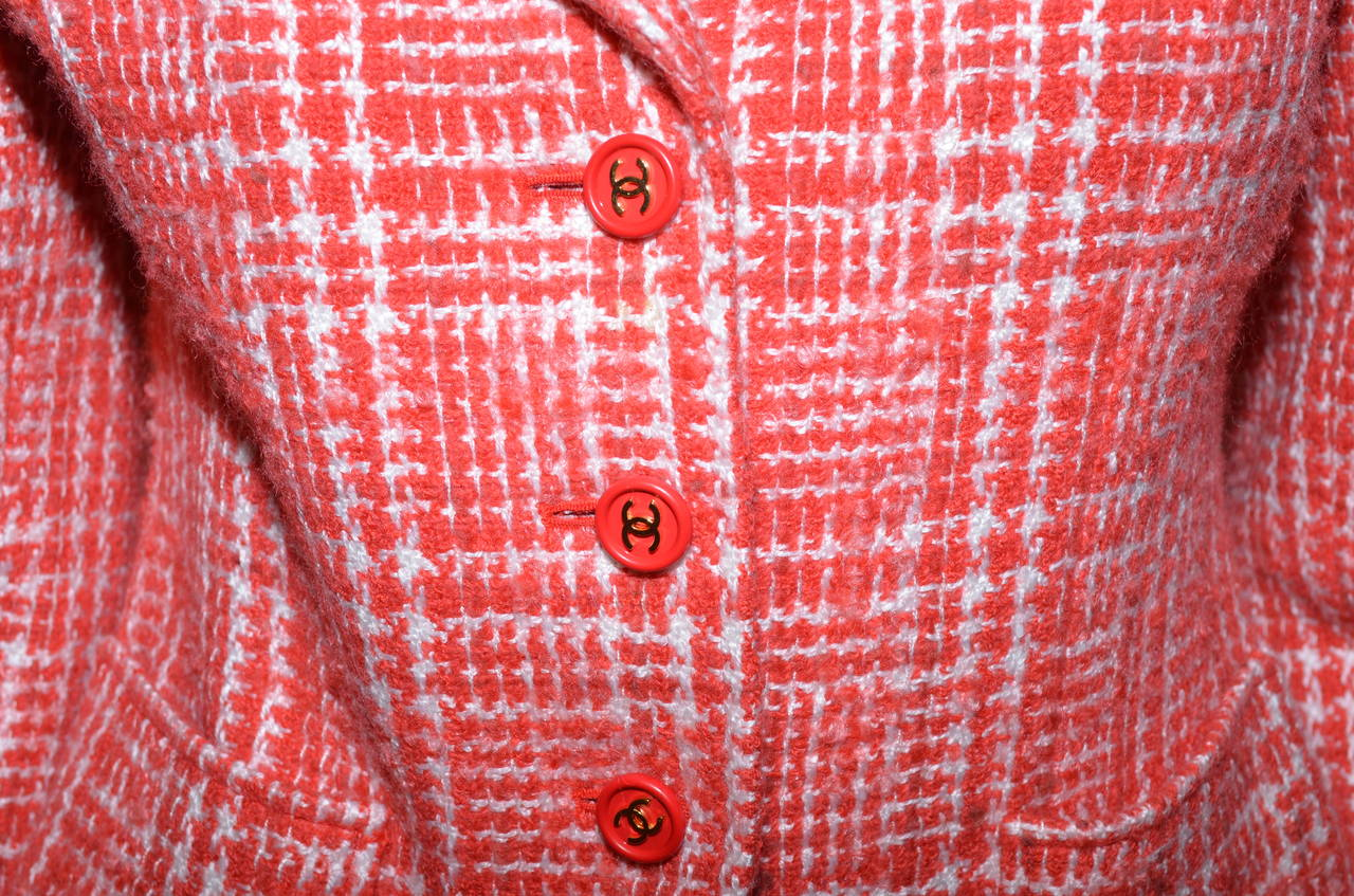 Chanel Red 1997 P Summer Coral Orange Tweed Button Blazer Jacket 5