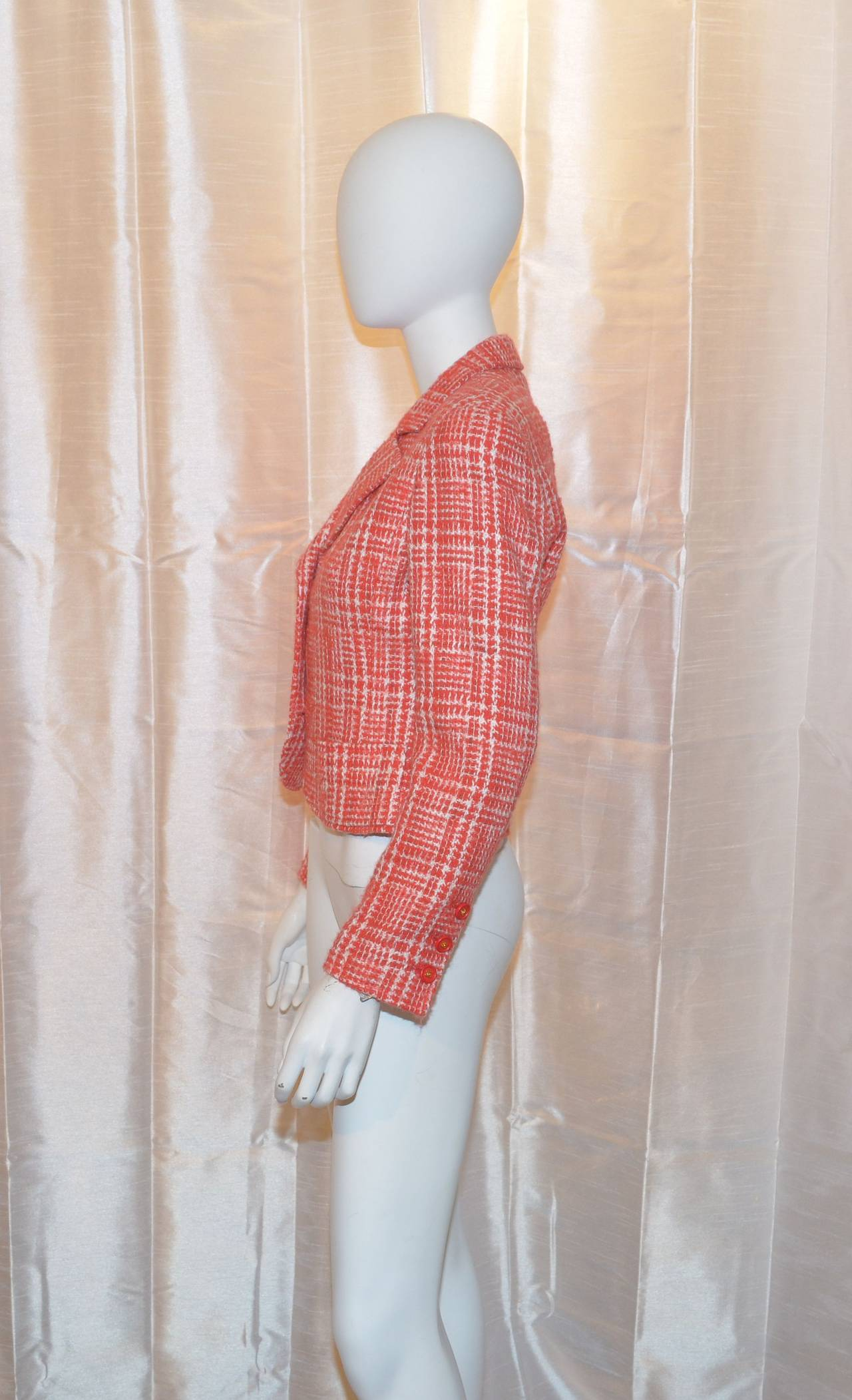 Chanel Red 1997 P Summer Coral Orange Tweed Button Blazer Jacket 3