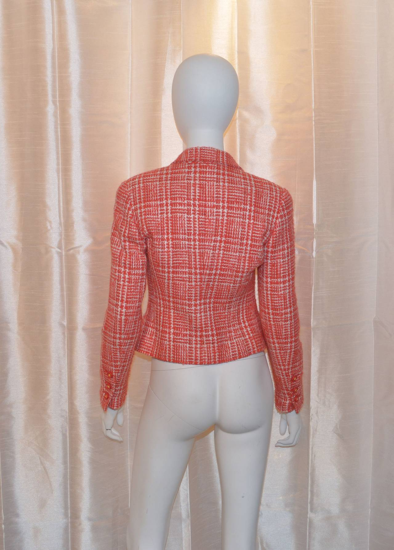 Chanel Red 1997 P Summer Coral Orange Tweed Button Blazer Jacket 2