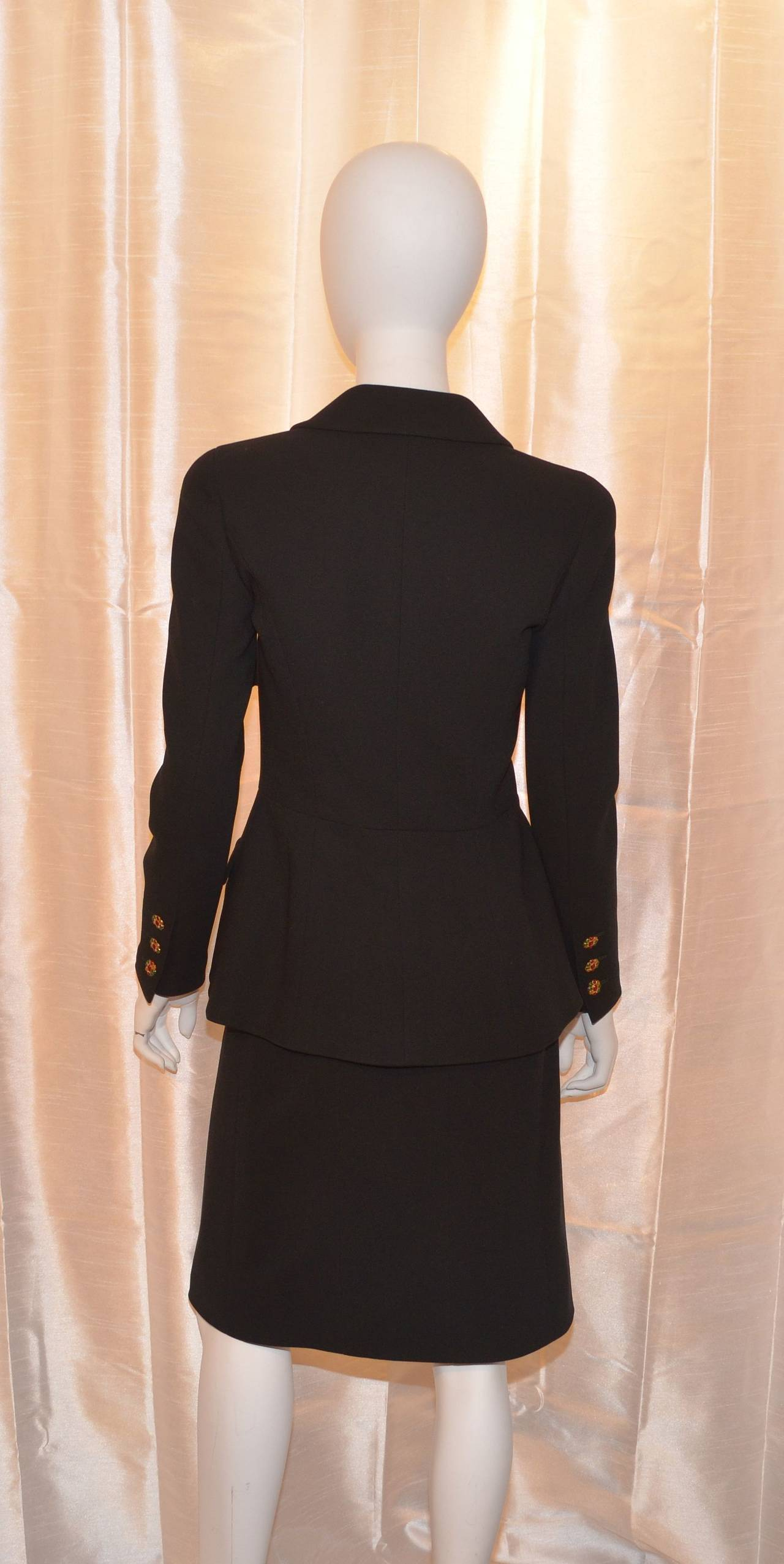 Black Chanel 1996 A Jacket Skirt Suit Gripoix Buttons For Sale