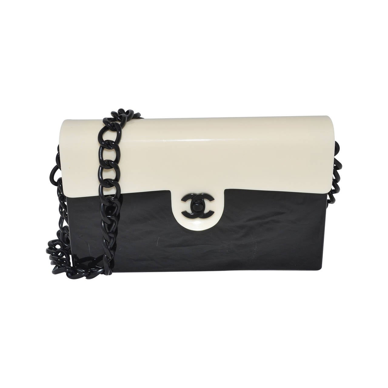 354bf1a39aa9ac Chanel 2000-2002 Black and White Lucite Perspex RARE Vintage Bag at 1stdibs