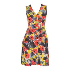 Chanel 1997 P Floral Summer Hues Print Denim Graffiti Dress