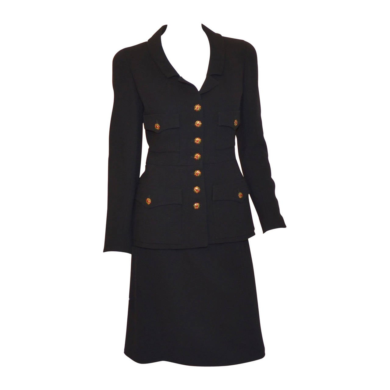 Chanel 1996 A Jacket Skirt Suit Gripoix Buttons For Sale