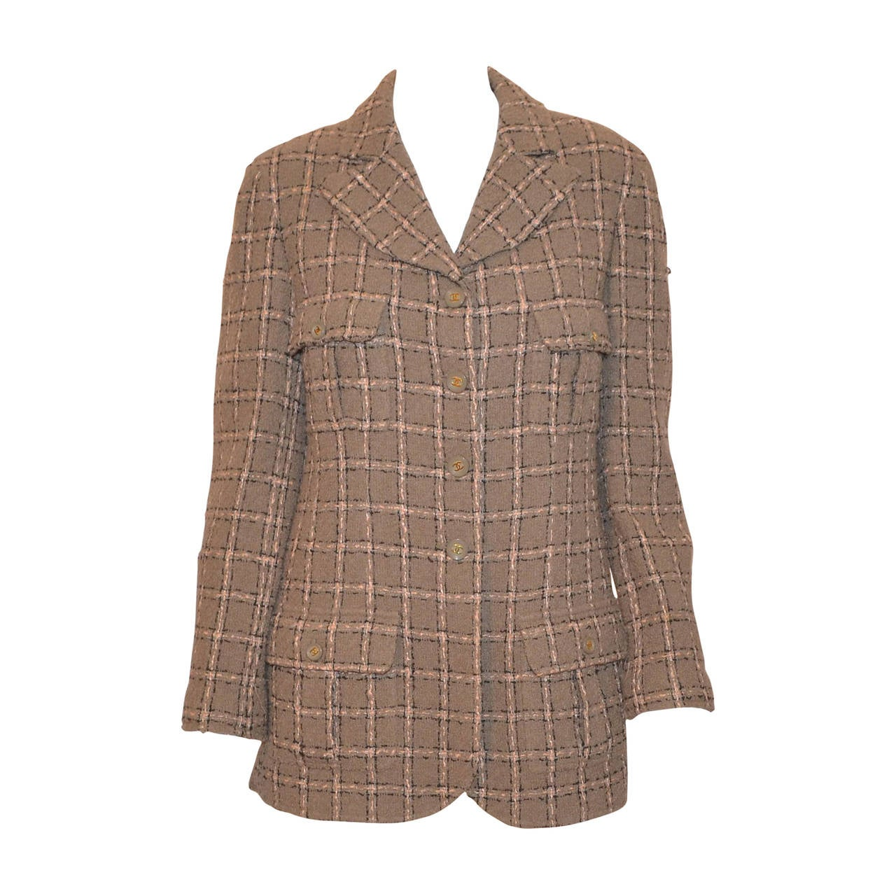 Chanel 1995 A Olive Taupe Tweed Jacket