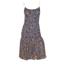 Chanel circa 1980s Print Drop Waist Chiffon Dress