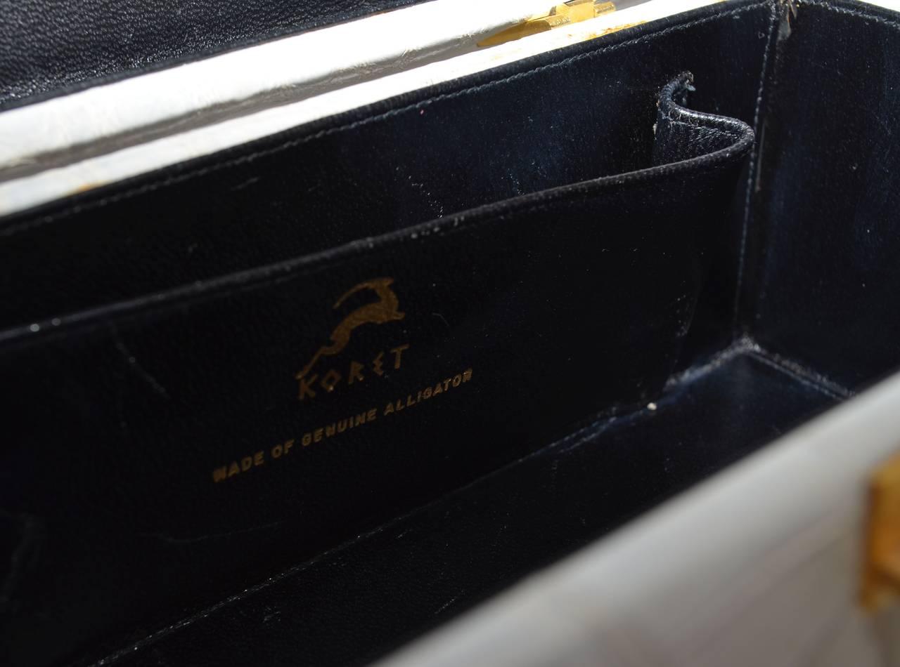 Koret Dove Gray Genuine Alligator Vintage Box Purse 6