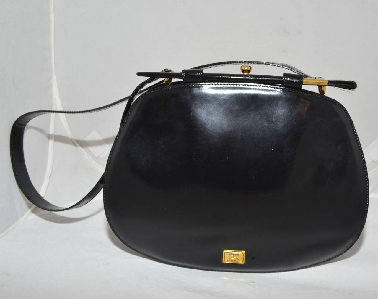 Moschino Vintage Rare 1990s Artist's Palette Leather Shoulder Bag 2