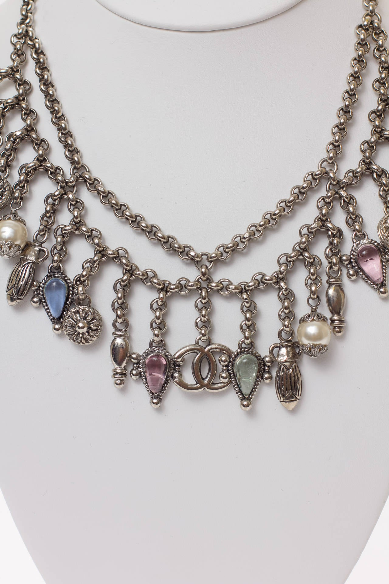 Vintage Chanel Silver Necklace with Dangle MultiColor Charms Choker In Excellent Condition For Sale In Carmel by the Sea, CA