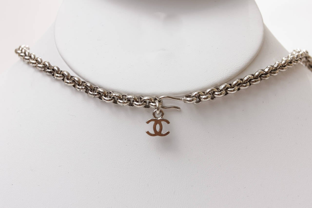 Vintage Chanel Silver Necklace with Dangle MultiColor Charms Choker For Sale 1