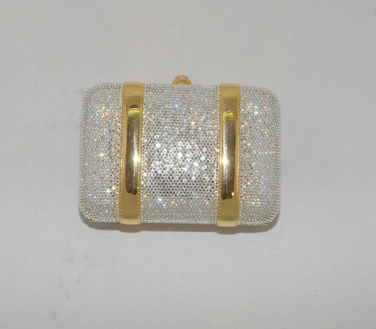 Brown Judith Leiber Crystal Encrusted Minaudière Bag For Sale