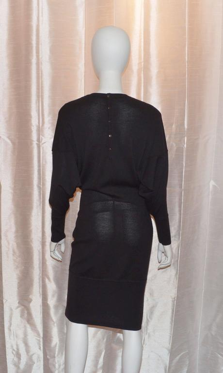 Vintage Alaia Black Wool Knit Dolman Sleeve Dress 3