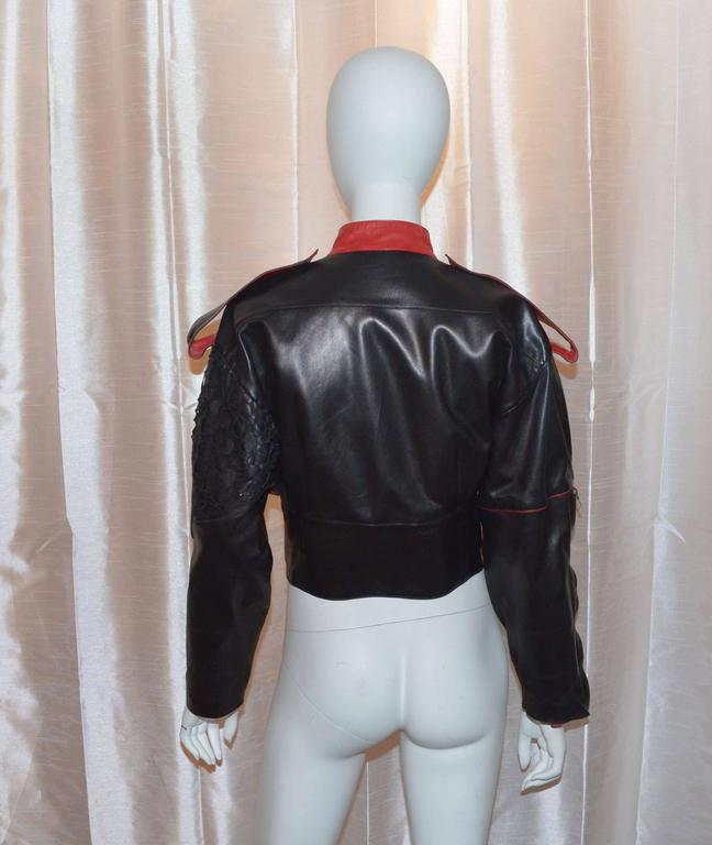 Claude Montana Black and Red Laser Cut Leather Bomber Jacket  In Excellent Condition For Sale In Carmel by the Sea, CA