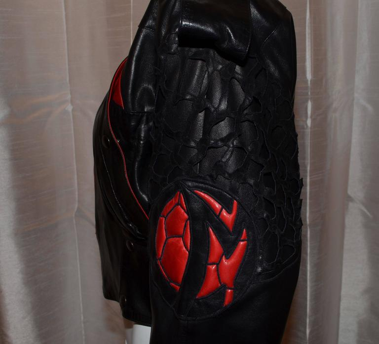 Women's Claude Montana Black and Red Laser Cut Leather Bomber Jacket  For Sale