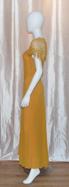 Vintage 1930's Golden Yellow Crochet Long Gown Great Back Detail 3