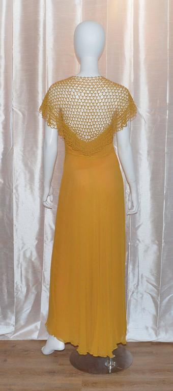 Vintage 1930's Golden Yellow Crochet Long Gown Great Back Detail 2