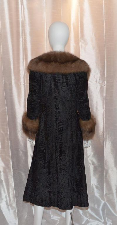 Christian Dior Furs I. Magnin Vintage Broadtail Coat Sable Collar Trim 2