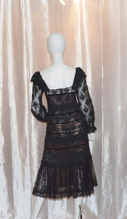 Black Giorgio Sant Angelo 1970s Layered Lace Dress For Sale